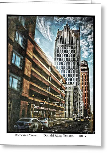 Comerica Tower Greeting Card by Donald Yenson