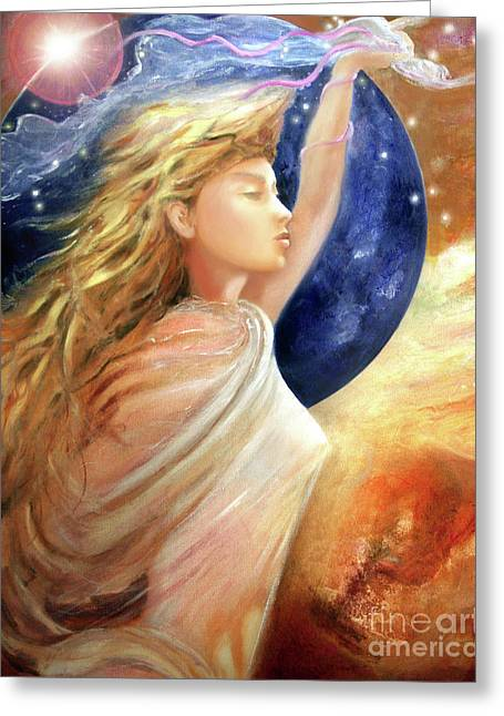 Greeting Card featuring the painting Comet Dreamer Ascend by Michael Rock
