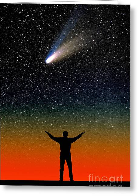 Comet Hale-bopp Greeting Card by Larry Landolfi