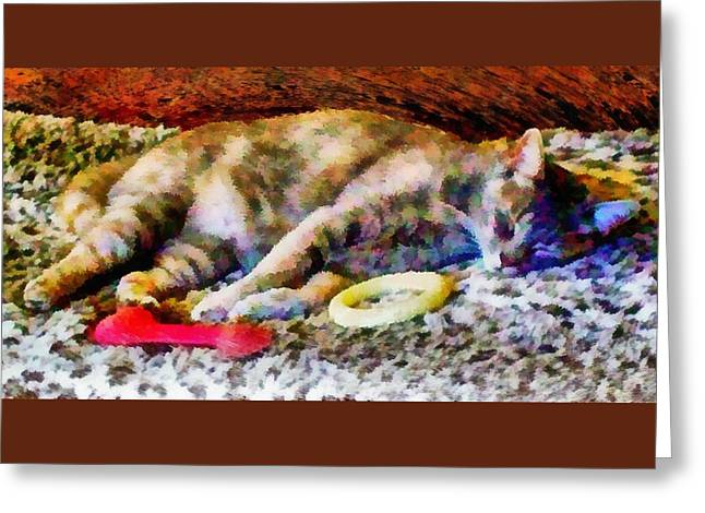 Comfortable In My Brothers Bed Greeting Card by Dorothy Berry-Lound