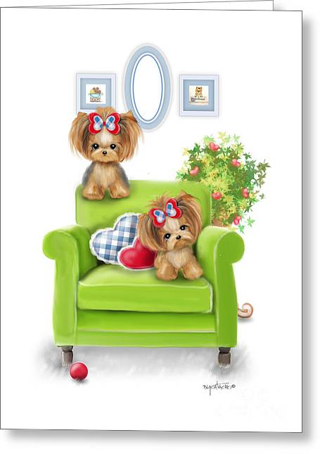 Comfy Chair Greeting Card by Catia Cho