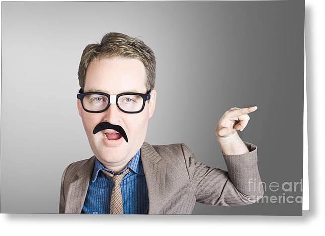 Comic Portrait Of A Nerd Businessman With Big Head Greeting Card