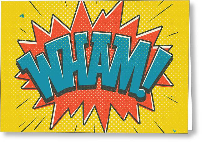 Comic Wham Greeting Card by Mitch Frey