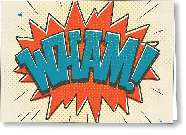 Comic Wham On White Greeting Card by Mitch Frey
