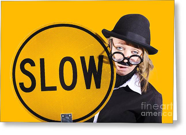 Comical Business Character. Unproductive Behaviour Greeting Card by Jorgo Photography - Wall Art Gallery