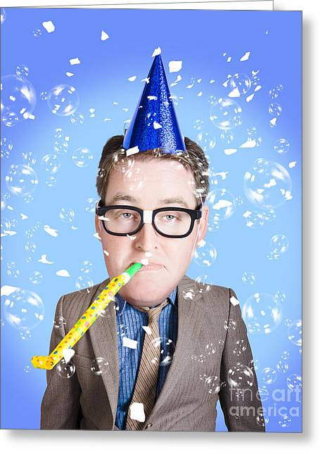 Comical Dad Celebrating Fathers Day In Party Hat Greeting Card