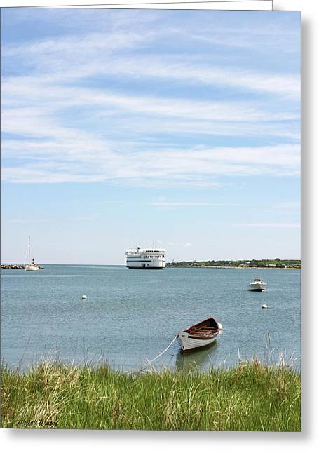 Vineyard Haven Greeting Cards - Coming Home Marthas Vineyard Ferry Arrives in Vineyard Haven Masachusetts Greeting Card by Michelle Wiarda