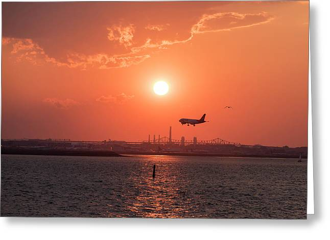 Coming In For A Landing To Logan Airport From Winthrop Ma Greeting Card by Toby McGuire