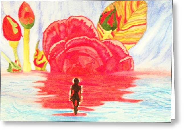 Coming Out Of One World Into Another Greeting Card by Connie Valasco