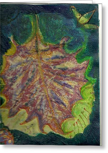 Coming To Me Floating Leaf  Greeting Card by Anne-Elizabeth Whiteway