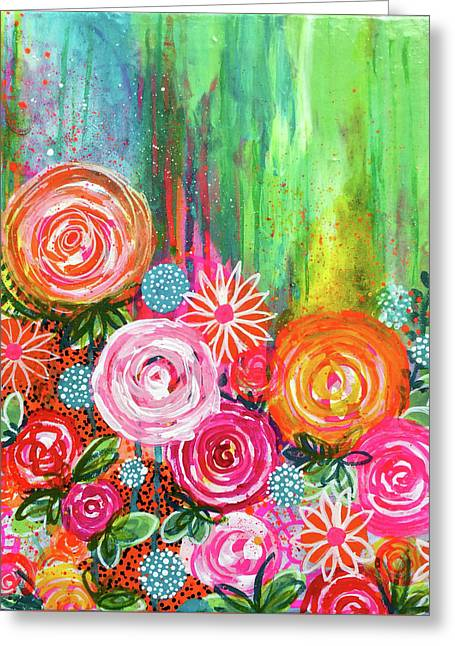 Coming Up Roses Greeting Card by Robin Mead