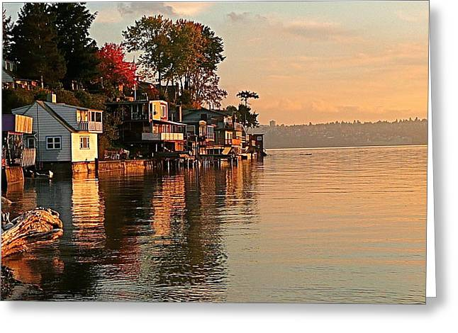 Commencement Bay Greeting Cards - Commencement Bay at Sunset Greeting Card by Sean Griffin