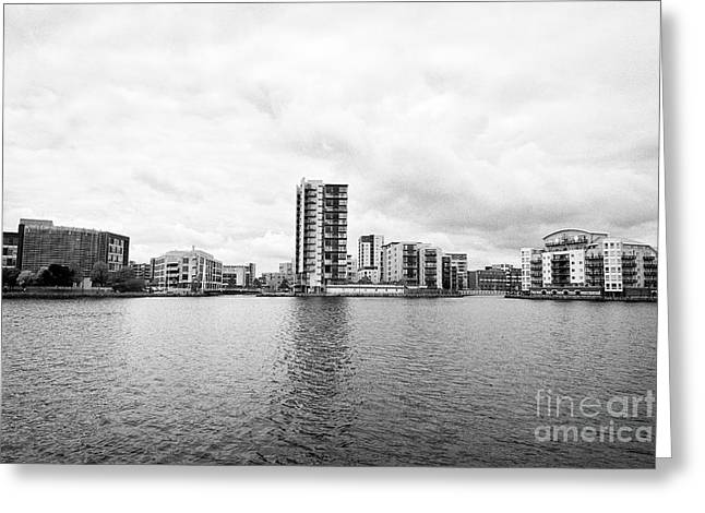 Commercial Celestia And Adventurers Quay Luxury Apartment Buildings On Roath Basin On Overcast Day  Greeting Card