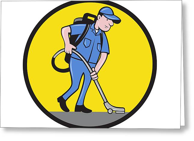 Commercial Cleaner Janitor Vacuum Circle Cartoon Greeting Card by Aloysius Patrimonio
