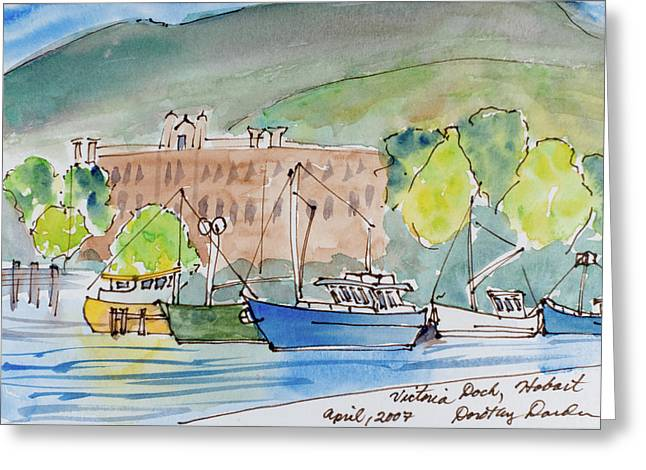 Fishing Boats In Hobart's Victoria Dock Greeting Card