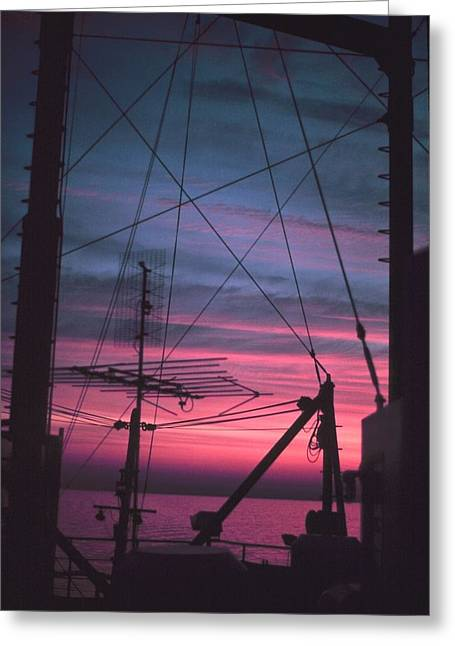 Commercial Riggings With Sunset Greeting Card by PhotographyAssociates
