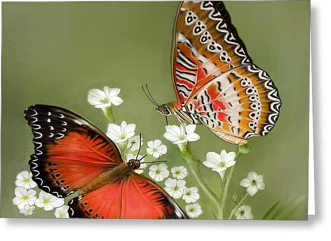 Common Lacewing Butterfly Greeting Card by Thanh Thuy Nguyen