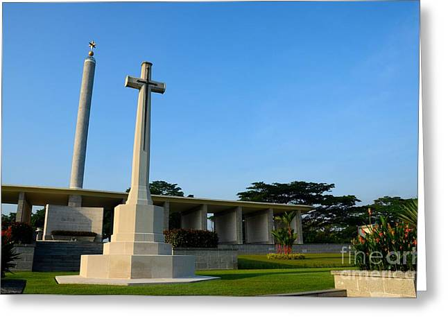 Commonwealth War Graves Commission Kranji Memorial Cemetery Monument Singapore Greeting Card by Imran Ahmed