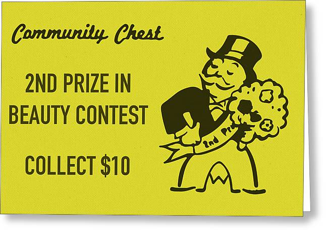 Community Chest Vintage Monopoly Board Game 2nd Prize In Beauty Contest Greeting Card