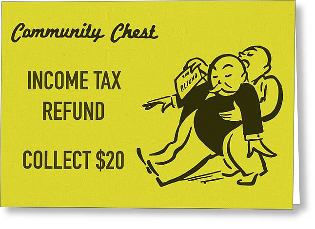 Community Chest Vintage Monopoly Board Game Income Tax Refund Greeting Card
