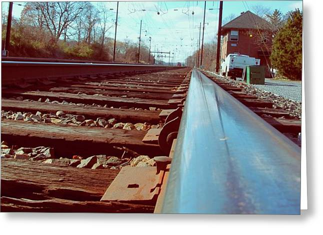Commuter Train Tracks, Downingtown, Pa. Greeting Card