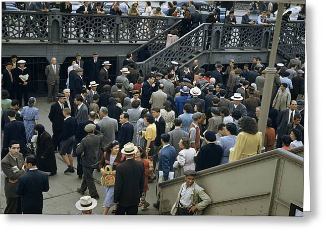 Well-dressed Greeting Cards - Commuters Crowd A Ferry Landing Greeting Card by Maynard Owen Williams