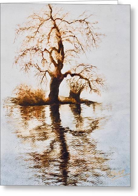 Como Lake Reflections Greeting Card