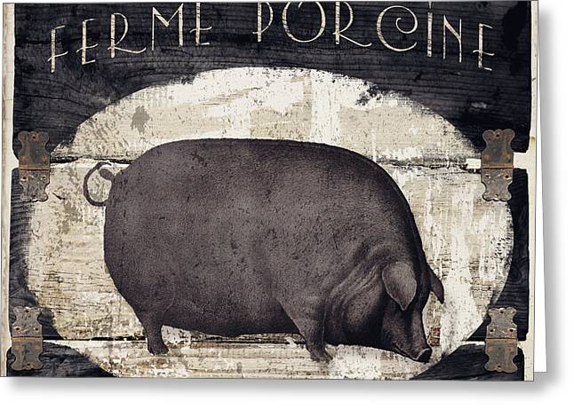 Compagne II Pig Farm Greeting Card by Mindy Sommers