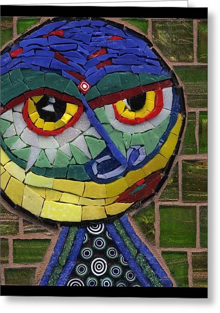 Circle Glass Greeting Cards - Companion to Klee - Fantasy Face No.15 Greeting Card by Gila Rayberg