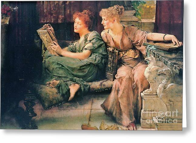 Comparing Books 1892 Greeting Card by Padre Art