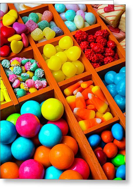 Compartments Of Yummy Candy Greeting Card by Garry Gay