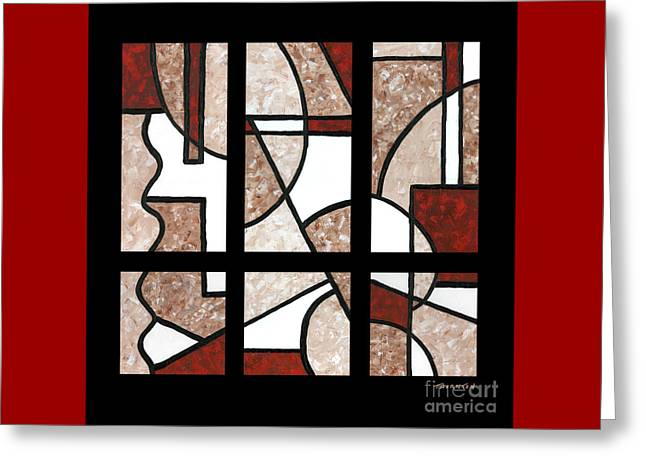 Compartments Six Panels Greeting Card by Diane Thornton