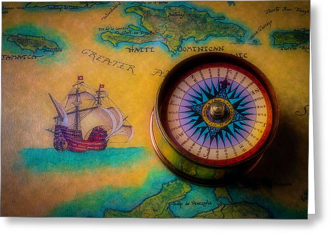 Compass And Ship On Old Map Greeting Card
