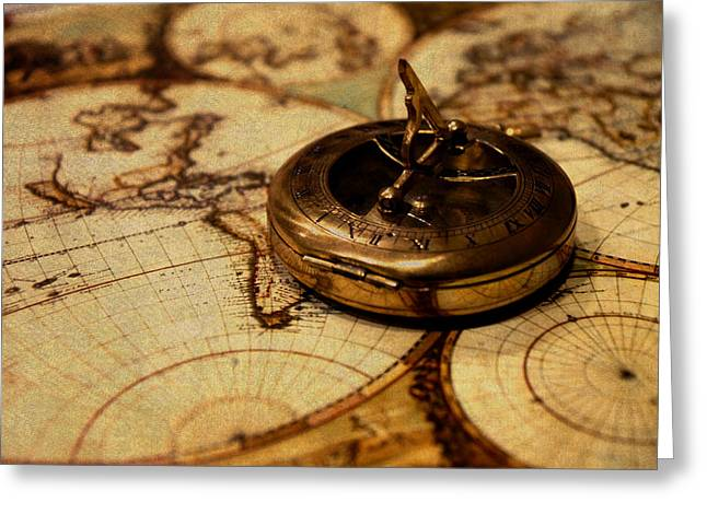 Compass On Vintage Old Map Of The World Greeting Card