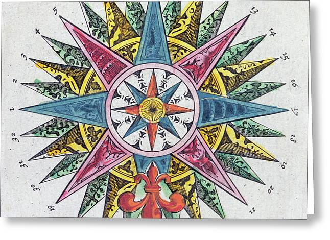 Compass Rose Greeting Card by Dutch School