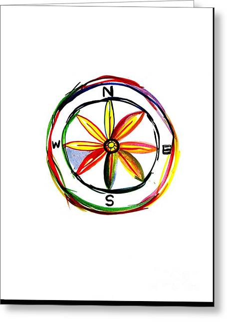 Compass Greeting Card by Sweeping Girl