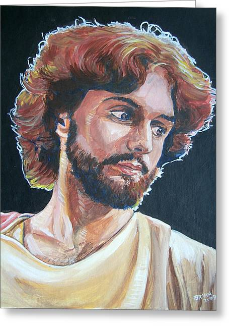 Greeting Card featuring the painting Compassionate Christ by Bryan Bustard