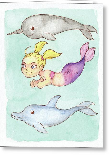 Narwhal greeting cards page 3 of 3 fine art america competition mermaid mermay 2018 greeting card m4hsunfo