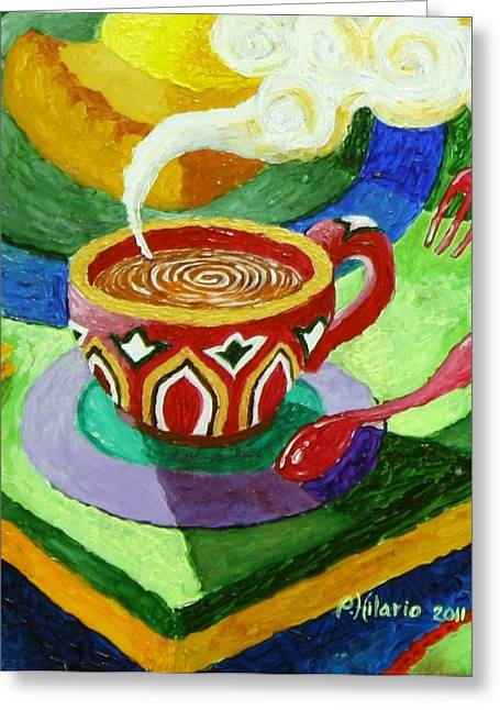 Complementary Coffee 3 Greeting Card by Paul Hilario