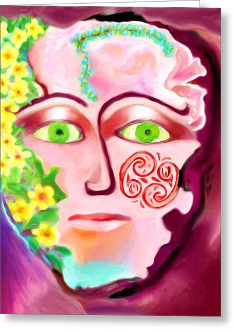 Greeting Card featuring the painting Complete - A Mask by Shelley Bain