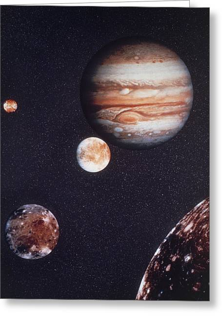 Composite Image Of Jupiter & Four Of Its Moons Greeting Card