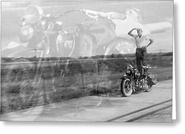 Composite Of 2 Old Harley Davidson Photographs Greeting Card