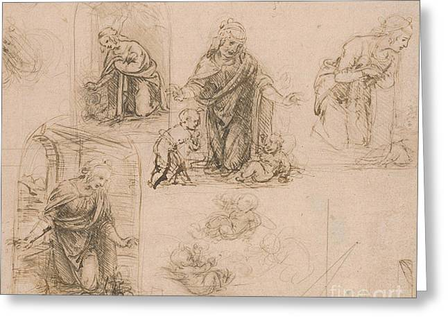 Compositional Sketches For The Virgin Adoring The Christ Child Greeting Card by Leonardo Da Vinci
