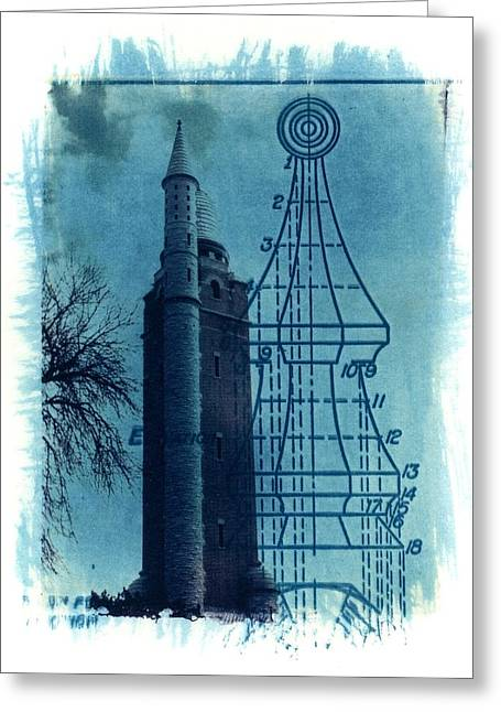 Transfer Print Greeting Cards - Compton Blueprint Greeting Card by Jane Linders