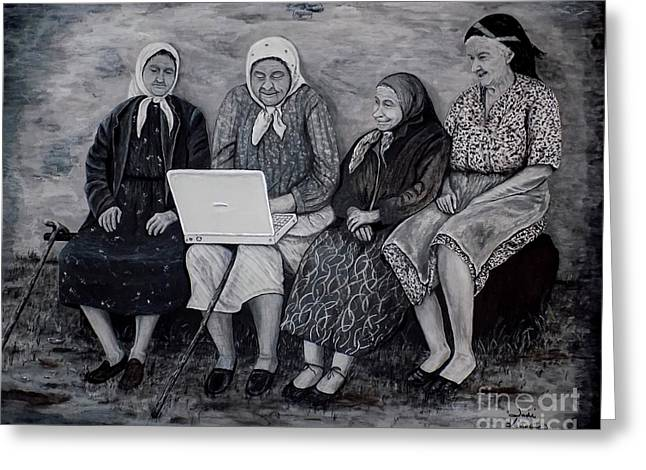 Greeting Card featuring the painting Computer Class by Judy Kirouac