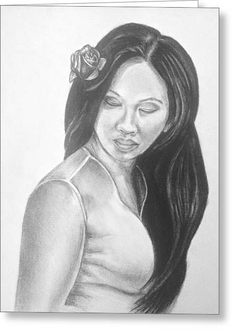 Long Hair Asian Lady With Rose In Sorrow Charcoal Drawing  Greeting Card