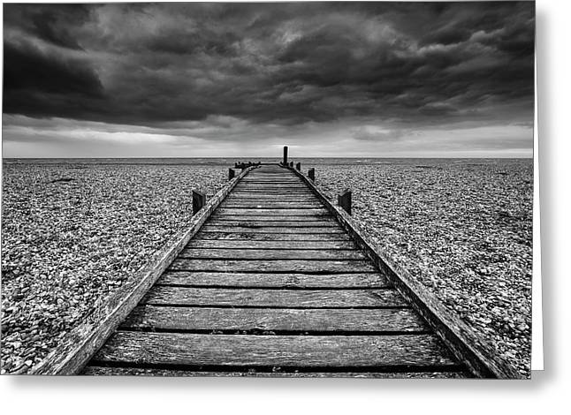 Concept Image Of Path To Nowhere In Desolate Beach Black And Whi Greeting Card by Matthew Gibson