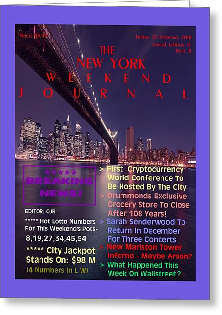 Concept Magazine Cover For The Imaginary New York Weekend Journal Of 23  February 2018 Greeting Card