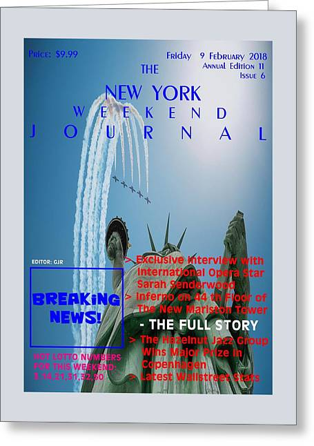 Concept Magazine Cover For The Imaginary New York Weekend Journal Of 9 February 2018. Nv Greeting Card