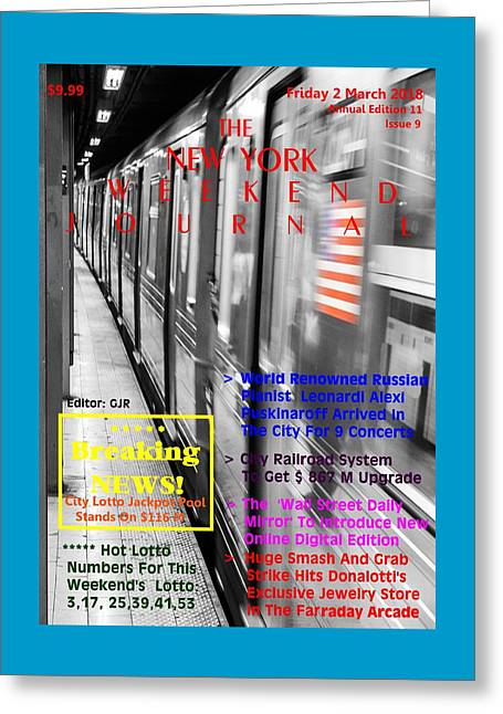 Concept Magazine Cover For The Imaginary New York Weekend Journal Of Friday 2 March 2018 Greeting Card